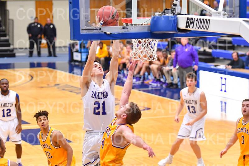 Hamilton College G/F Spencer Kendall (21)<br /> <br /> 12/8/18 5:04:06 PM Men's Basketball: Elmira College v #4 Hamilton College at Margaret Bundy Scott Field House, Hamilton College, Clinton, NY<br /> <br /> Final: Elmira 67  #4 Hamilton 98<br /> <br /> Photo by Josh McKee