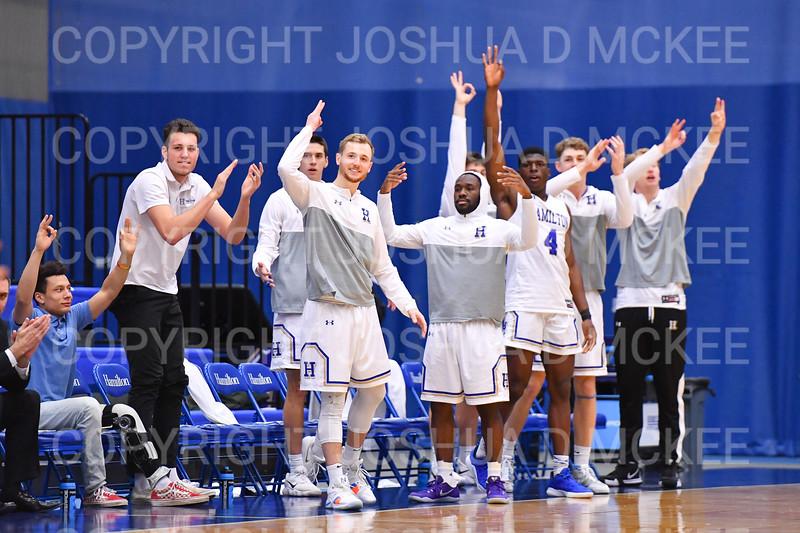 Team, Celebration<br /> <br /> 12/8/18 4:05:16 PM Men's Basketball: Elmira College v #4 Hamilton College at Margaret Bundy Scott Field House, Hamilton College, Clinton, NY<br /> <br /> Final: Elmira 67  #4 Hamilton 98<br /> <br /> Photo by Josh McKee