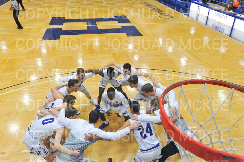 Team<br /> <br /> 12/8/18 4:03:12 PM Men's Basketball: Elmira College v #4 Hamilton College at Margaret Bundy Scott Field House, Hamilton College, Clinton, NY<br /> <br /> Final: Elmira 67  #4 Hamilton 98<br /> <br /> Photo by Josh McKee