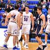 Celebration<br /> <br /> 1/6/19 3:54:24 PM Men's Basketball:  Trinity College v Hamilton College at Margaret Bundy Scott Field House, Hamilton College, Clinton, NY<br /> <br /> Final: Trinity 70   Hamilton 72<br /> <br /> Photo by Josh McKee