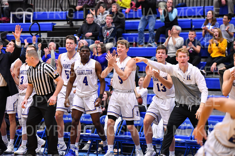 Celebration<br /> <br /> 1/6/19 3:47:28 PM Men's Basketball:  Trinity College v Hamilton College at Margaret Bundy Scott Field House, Hamilton College, Clinton, NY<br /> <br /> Final: Trinity 70   Hamilton 72<br /> <br /> Photo by Josh McKee