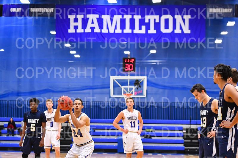 Hamilton College guard Kena Gilmour (24)<br /> <br /> 1/6/19 2:21:01 PM Men's Basketball:  Trinity College v Hamilton College at Margaret Bundy Scott Field House, Hamilton College, Clinton, NY<br /> <br /> Final: Trinity 70   Hamilton 72<br /> <br /> Photo by Josh McKee