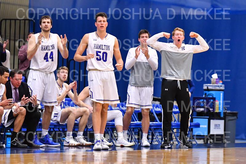 Team, Celebration<br /> <br /> 1/6/19 2:31:01 PM Men's Basketball:  Trinity College v Hamilton College at Margaret Bundy Scott Field House, Hamilton College, Clinton, NY<br /> <br /> Final: Trinity 70   Hamilton 72<br /> <br /> Photo by Josh McKee