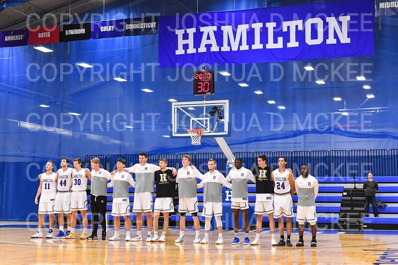 Team<br /> <br /> 1/6/19 2:00:12 PM Men's Basketball:  Trinity College v Hamilton College at Margaret Bundy Scott Field House, Hamilton College, Clinton, NY<br /> <br /> Final: Trinity 70   Hamilton 72<br /> <br /> Photo by Josh McKee