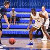 Hamilton College guard Nick Osarenren (4)<br /> <br /> 1/6/19 2:13:03 PM Men's Basketball:  Trinity College v Hamilton College at Margaret Bundy Scott Field House, Hamilton College, Clinton, NY<br /> <br /> Final: Trinity 70   Hamilton 72<br /> <br /> Photo by Josh McKee