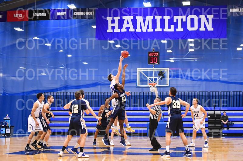 Hamilton College G/F Peter Hoffmann (30), Team, Margaret Bundy Scott Fieldhouse<br /> <br /> 1/6/19 2:04:30 PM Men's Basketball:  Trinity College v Hamilton College at Margaret Bundy Scott Field House, Hamilton College, Clinton, NY<br /> <br /> Final: Trinity 70   Hamilton 72<br /> <br /> Photo by Josh McKee
