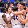 Celebration<br /> <br /> 1/6/19 3:54:25 PM Men's Basketball:  Trinity College v Hamilton College at Margaret Bundy Scott Field House, Hamilton College, Clinton, NY<br /> <br /> Final: Trinity 70   Hamilton 72<br /> <br /> Photo by Josh McKee