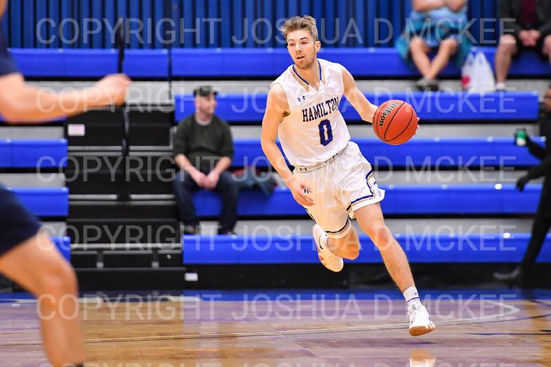 Hamilton College guard Tim Doyle (0)<br /> <br /> 1/6/19 2:05:08 PM Men's Basketball:  Trinity College v Hamilton College at Margaret Bundy Scott Field House, Hamilton College, Clinton, NY<br /> <br /> Final: Trinity 70   Hamilton 72<br /> <br /> Photo by Josh McKee