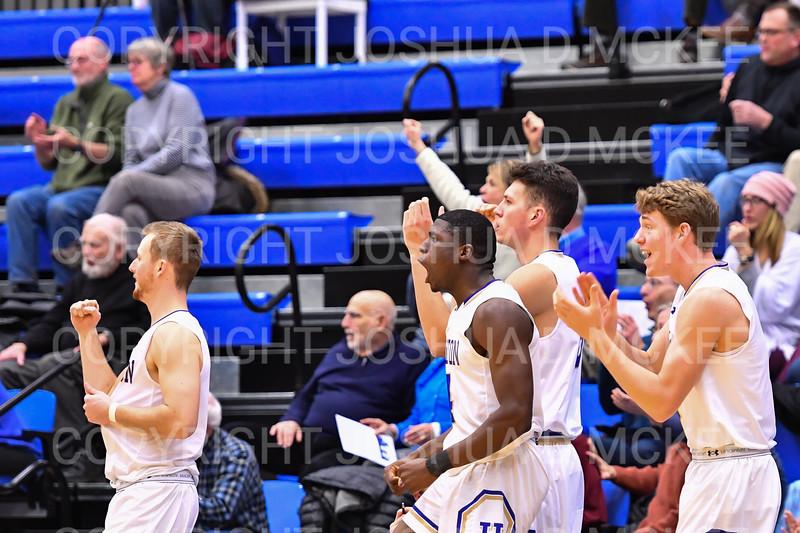 Celebration<br /> <br /> 1/6/19 3:49:34 PM Men's Basketball:  Trinity College v Hamilton College at Margaret Bundy Scott Field House, Hamilton College, Clinton, NY<br /> <br /> Final: Trinity 70   Hamilton 72<br /> <br /> Photo by Josh McKee