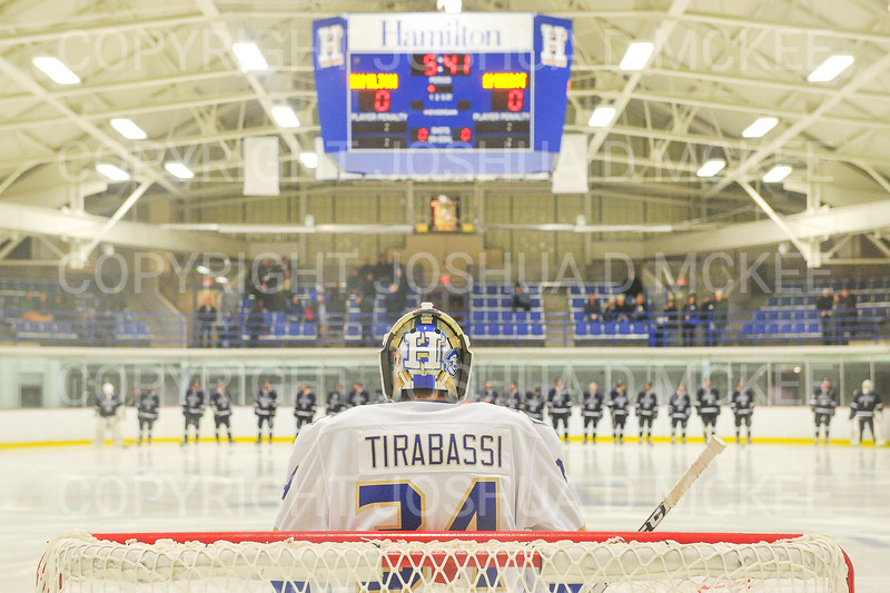 Hamilton College goaltender Anthony Tirabassi (34)<br /> <br /> 11/16/18 6:58:21 PM Men's Hockey:  Amherst College v Hamilton College at Russell Sage Rink, Hamilton College, Clinton, NY<br /> <br /> Final:  Amherst  2  Hamilton 3<br /> <br /> Photo by Josh McKee