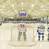 Hamilton College defender Bennett Morrison (14), Hamilton College goaltender Anthony Tirabassi (34), Hamilton College forward Nick Ursitti (12), Hamilton College goaltender Pete Negron (1), Russell Sage Rink<br /> <br /> 11/16/18 6:58:28 PM Men's Hockey:  Amherst College v Hamilton College at Russell Sage Rink, Hamilton College, Clinton, NY<br /> <br /> Final:  Amherst  2  Hamilton 3<br /> <br /> Photo by Josh McKee