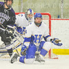 Hamilton College defender Sam Jones (44), Hamilton College goaltender Anthony Tirabassi (34)<br /> <br /> 11/16/18 8:52:38 PM Men's Hockey:  Amherst College v Hamilton College at Russell Sage Rink, Hamilton College, Clinton, NY<br /> <br /> Final:  Amherst  2  Hamilton 3<br /> <br /> Photo by Josh McKee