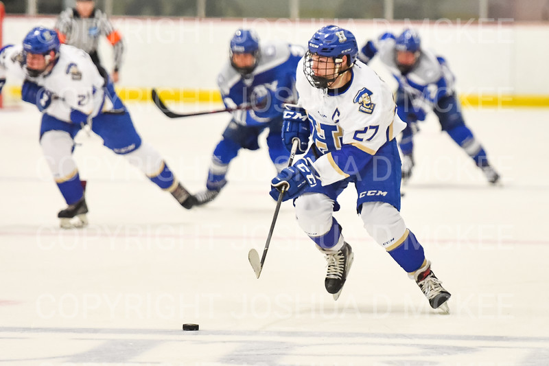 Hamilton College forward Jon Stickel (27)<br /> <br /> 1/4/19 8:13:23 PM Men's Hockey:  Colby College v Hamilton College at Russell Sage Rink, Hamilton College, Clinton, NY<br /> <br /> Final:  Colby 2   Hamilton 4<br /> <br /> Photo by Josh McKee