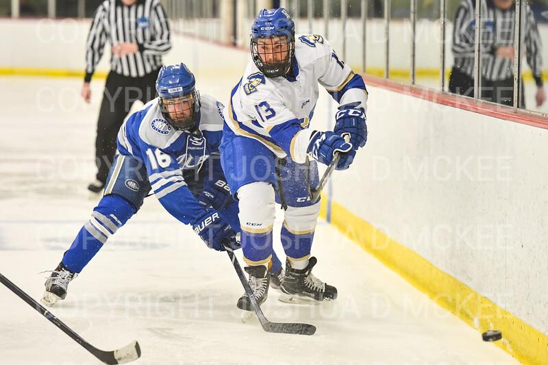 Hamilton College defender Nick Rutigliano (13)<br /> <br /> 1/4/19 8:48:10 PM Men's Hockey:  Colby College v Hamilton College at Russell Sage Rink, Hamilton College, Clinton, NY<br /> <br /> Final:  Colby 2   Hamilton 4<br /> <br /> Photo by Josh McKee