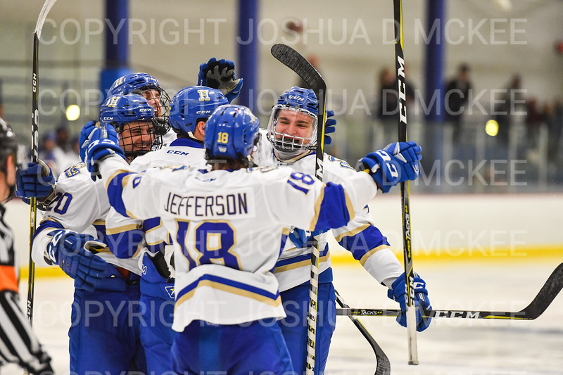 Celebration<br /> <br /> 1/4/19 8:43:47 PM Men's Hockey:  Colby College v Hamilton College at Russell Sage Rink, Hamilton College, Clinton, NY<br /> <br /> Final:  Colby 2   Hamilton 4<br /> <br /> Photo by Josh McKee