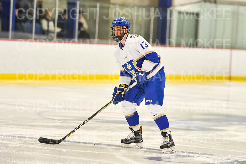 Hamilton College defender Nick Rutigliano (13)<br /> <br /> 1/4/19 7:47:48 PM Men's Hockey:  Colby College v Hamilton College at Russell Sage Rink, Hamilton College, Clinton, NY<br /> <br /> Final:  Colby 2   Hamilton 4<br /> <br /> Photo by Josh McKee