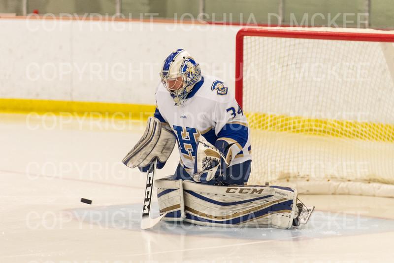 Hamilton College goaltender Anthony Tirabassi (34)<br /> <br /> 1/4/19 6:27:32 PM Men's Hockey:  Colby College v Hamilton College at Russell Sage Rink, Hamilton College, Clinton, NY<br /> <br /> Final:  Colby 2   Hamilton 4<br /> <br /> Photo by Josh McKee