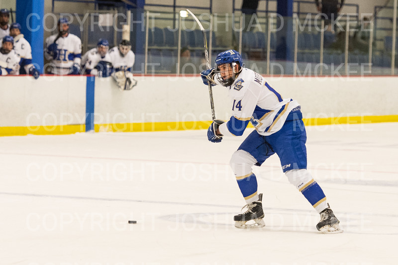 Hamilton College defender Bennett Morrison (14)<br /> <br /> 1/4/19 7:23:06 PM Men's Hockey:  Colby College v Hamilton College at Russell Sage Rink, Hamilton College, Clinton, NY<br /> <br /> Final:  Colby 2   Hamilton 4<br /> <br /> Photo by Josh McKee