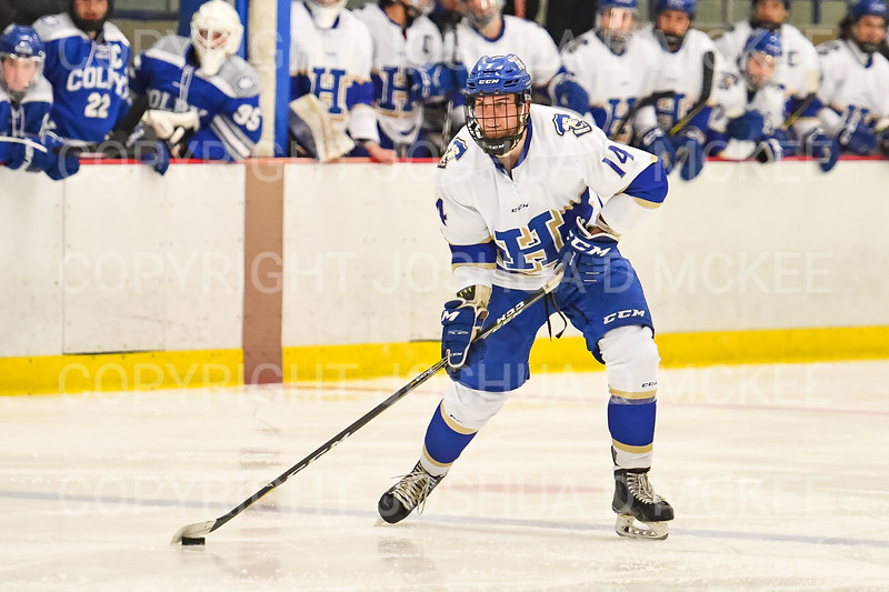Hamilton College defender Bennett Morrison (14)<br /> <br /> 1/4/19 8:43:26 PM Men's Hockey:  Colby College v Hamilton College at Russell Sage Rink, Hamilton College, Clinton, NY<br /> <br /> Final:  Colby 2   Hamilton 4<br /> <br /> Photo by Josh McKee