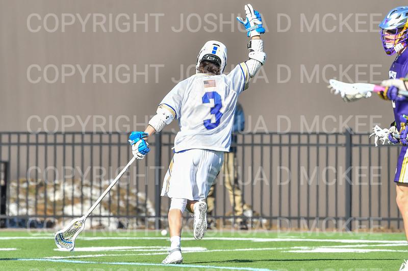 Hamilton College attacker Chad Morse (3)<br /> <br /> 3/20/19 4:16:10 PM Men's Lacrosse: Nazareth College v Hamilton College, at Steuben Field, Hamilton College, Clinton, NY<br /> <br /> Final: Nazareth 12   Hamilton 17<br /> <br /> Photo by Josh McKee