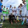 Hamilton College head coach Perry Nizzi, Team<br /> <br /> 9/22/18 1:40:18 PM Men's Soccer:  #21 Connecticut College vs Hamilton College, at Love Field, Hamilton College, Clinton NY<br /> <br /> Final:  Conn 1    Hamilton 0<br /> <br /> Photo by Josh McKee
