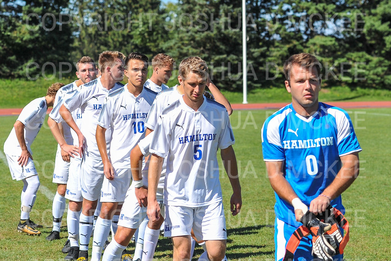 Team<br /> <br /> 9/23/18 1:33:36 PM Men's Soccer:  Middlebury College vs Hamilton College, at Love Field, Hamilton College, Clinton NY<br /> <br /> Final:  Middlebury 2   Hamilton 1 2OT<br /> <br /> Photo by Josh McKee