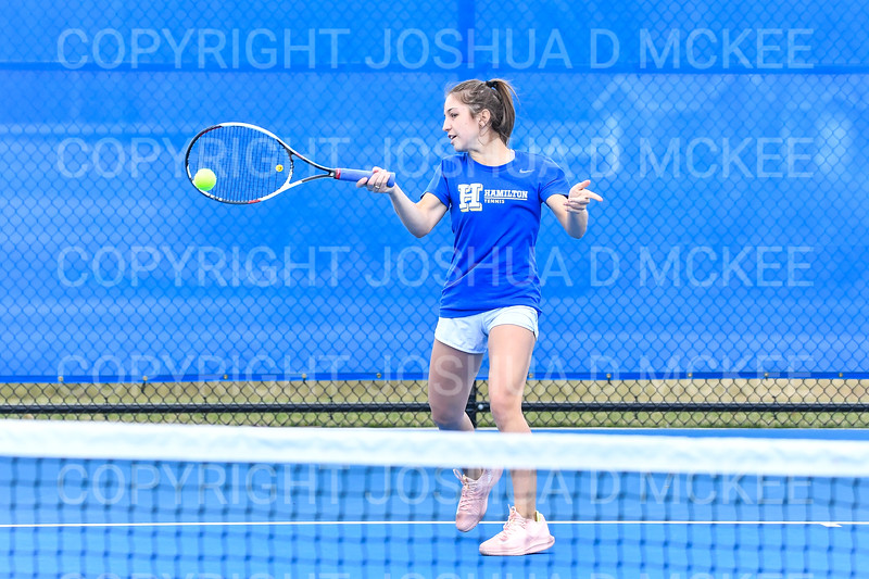 4/9/19 5:18:56 PM Hamilton College Men's and Women's Tennis Practice at the Tietje Family Tennis Center, Hamilton College, Clinton, NY<br /> <br /> Photo by Josh McKee