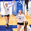 Hamilton College outside hitter Jane Fanning (15), Hamilton College middle blocker Dorothy Poucher (14), Celebration<br /> <br /> 10/5/18 7:11:08 PM Women's Volleyball:  Bates College v Hamilton College in the Margaret Bundy Scott Field House at Hamilton College, Clinton, NY<br /> <br /> Final: Bates 3  Hamilton 0<br /> <br /> Photo by Josh McKee
