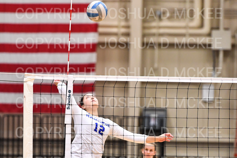 Hamilton College setter Jo Dine (12)<br /> <br /> 10/5/18 6:59:01 PM Women's Volleyball:  Bates College v Hamilton College in the Margaret Bundy Scott Field House at Hamilton College, Clinton, NY<br /> <br /> Final: Bates 3  Hamilton 0<br /> <br /> Photo by Josh McKee