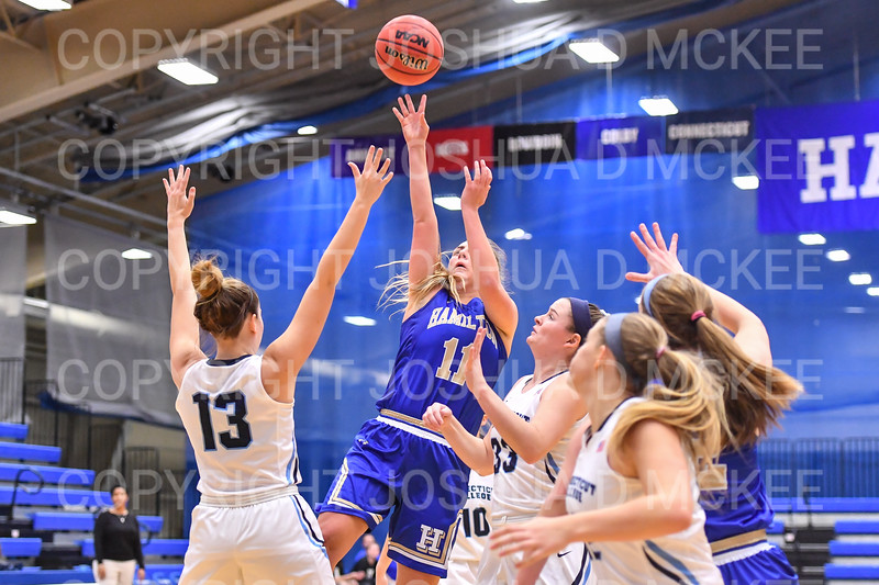Hamilton College guard Carly O'Hern (11)<br /> <br /> 1/12/19 3:11:27 PM Women's Basketball:  Connecticut College v Hamilton College at Margaret Bundy Scott Field House, Hamilton College, Clinton, NY<br /> <br /> Final:  Conn  62  Hamilton 53<br /> <br /> Photo by Josh McKee