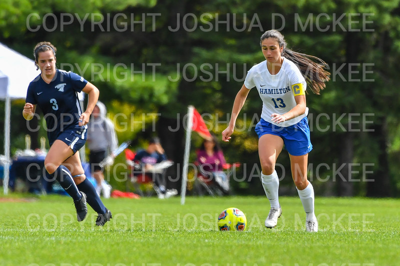 Hamilton College defender Katie McKillop (13)<br /> <br /> 9/22/18 12:25:30 PM Women's Soccer:  Connecticut College vs Hamilton College, at Love Field, Hamilton College, Clinton NY<br /> <br /> Final:  Conn 1    Hamilton 2<br /> <br /> Photo by Josh McKee