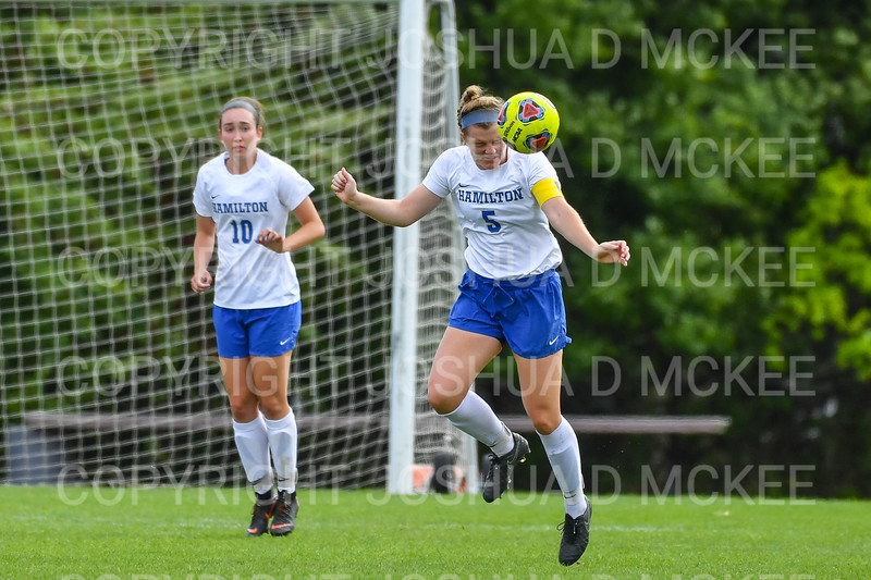 Hamilton College defender Cassie Hayward (5)<br /> <br /> 9/22/18 12:29:06 PM Women's Soccer:  Connecticut College vs Hamilton College, at Love Field, Hamilton College, Clinton NY<br /> <br /> Final:  Conn 1    Hamilton 2<br /> <br /> Photo by Josh McKee