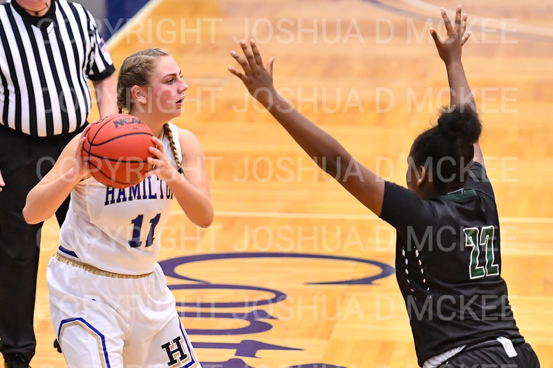 Hamilton College guard Carly O'Hern (11)<br /> <br /> 11/28/18 7:56:21 PM Women's Basketball: Morrisville State v Hamilton College at Margaret Bundy Scott Field House, Hamilton College, Clinton, NY<br /> <br /> Final: Morrisville 60   Hamilton 91<br /> <br /> Photo by Josh McKee