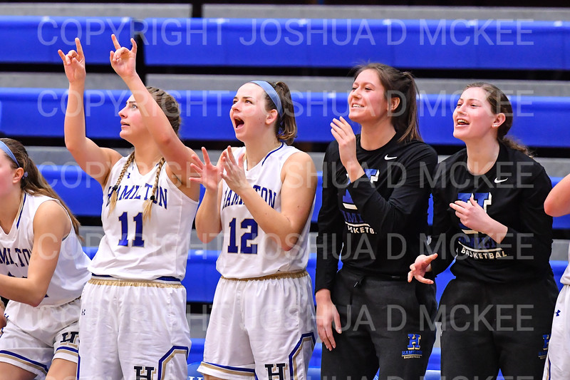 Team, Celebration<br /> <br /> 11/28/18 8:31:26 PM Women's Basketball: Morrisville State v Hamilton College at Margaret Bundy Scott Field House, Hamilton College, Clinton, NY<br /> <br /> Final: Morrisville 60   Hamilton 91<br /> <br /> Photo by Josh McKee