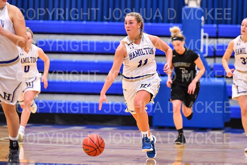 Hamilton College guard Carly O'Hern (11)<br /> <br /> 11/28/18 7:33:09 PM Women's Basketball: Morrisville State v Hamilton College at Margaret Bundy Scott Field House, Hamilton College, Clinton, NY<br /> <br /> Final: Morrisville 60   Hamilton 91<br /> <br /> Photo by Josh McKee