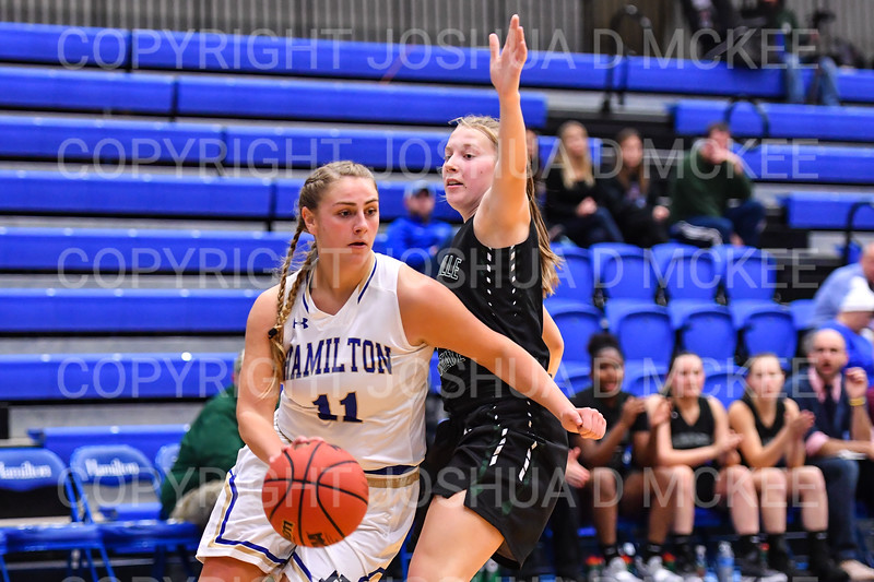 Hamilton College guard Carly O'Hern (11)<br /> <br /> 11/28/18 7:25:11 PM Women's Basketball: Morrisville State v Hamilton College at Margaret Bundy Scott Field House, Hamilton College, Clinton, NY<br /> <br /> Final: Morrisville 60   Hamilton 91<br /> <br /> Photo by Josh McKee