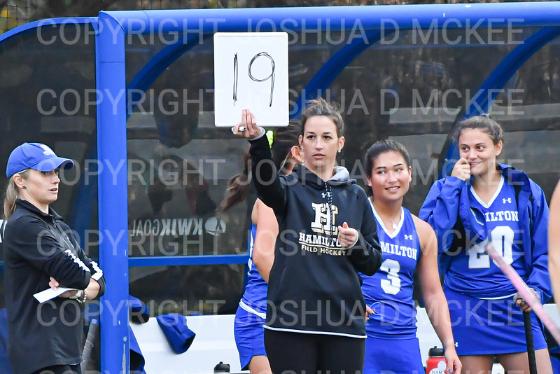 Hamilton College assistant coach Bre Lowe<br /> <br /> 10/30/19 5:35:20 PM Field Hockey: University of Rochester v Hamilton College at Goodfriend Field, Hamilton College, Clinton, NY<br /> <br /> Final:  Rochester 1   Hamilton 3<br /> <br /> Photo by Josh McKee
