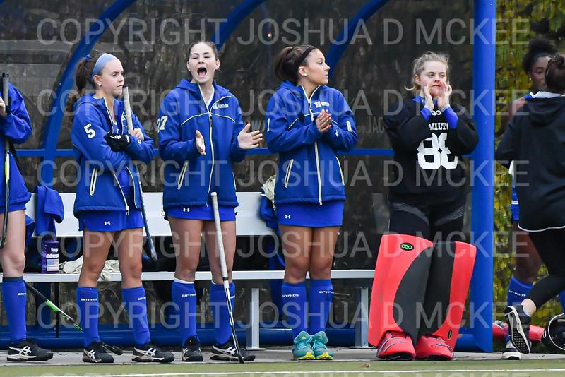 Team, Celebration<br /> <br /> 10/30/19 5:35:59 PM Field Hockey: University of Rochester v Hamilton College at Goodfriend Field, Hamilton College, Clinton, NY<br /> <br /> Final:  Rochester 1   Hamilton 3<br /> <br /> Photo by Josh McKee