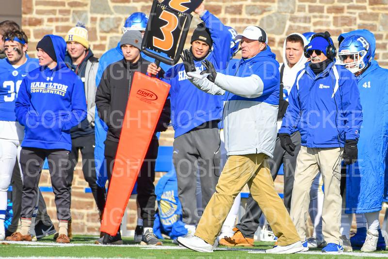 Hamilton College head coach Dave Murray<br /> <br /> 11/9/19 1:51:01 PM Football:  Bates College v Hamilton College at Steuben Field, Hamilton College, Clinton, NY<br /> <br /> Final:  Bates 26  Hamilton 21<br /> <br /> Photo by Josh McKee