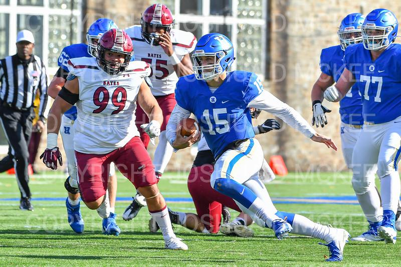 Hamilton College quarterback Kenny Gray (15)<br /> <br /> 11/9/19 1:27:39 PM Football:  Bates College v Hamilton College at Steuben Field, Hamilton College, Clinton, NY<br /> <br /> Final:  Bates 26  Hamilton 21<br /> <br /> Photo by Josh McKee