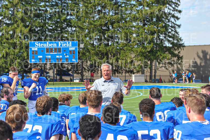Hamilton College head coach Dave Murray, Team<br /> <br /> 9/28/19 2:59:29 PM Football:  Colby College v Hamilton College at Steuben Field, Hamilton College, Clinton, NY<br /> <br /> Final:  Colby 24  Hamilton 45<br /> <br /> Photo by Josh McKee