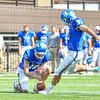 Hamilton College wide receiver Will Budington (18), Hamilton College kicker Sam Thoreen (97)<br /> <br /> 9/28/19 1:10:06 PM Football:  Colby College v Hamilton College at Steuben Field, Hamilton College, Clinton, NY<br /> <br /> Final:  Colby 24  Hamilton 45<br /> <br /> Photo by Josh McKee