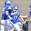 Hamilton College defensive lineman Alex Ganter (99), Hamilton College defensive lineman Mike Friedman (17), Hamilton College linebacker Pat Morelli (46), TOUCHDOWN, Celebration <br /> <br /> 9/28/19 1:19:13 PM Football:  Colby College v Hamilton College at Steuben Field, Hamilton College, Clinton, NY<br /> <br /> Final:  Colby 24  Hamilton 45<br /> <br /> Photo by Josh McKee