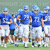 Hamilton College offensive lineman Mike Spicer (53), Hamilton College offensive lineman A.J. Kohut (79), Hamilton College offensive lineman A.J. Rattee (73), Hamilton College TE/P Billy Wagner (89)<br /> <br /> 9/28/19 2:24:03 PM Football:  Colby College v Hamilton College at Steuben Field, Hamilton College, Clinton, NY<br /> <br /> Final:  Colby 24  Hamilton 45<br /> <br /> Photo by Josh McKee