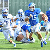 Hamilton College quarterback Kenny Gray (15), TOUCHDOWN<br /> <br /> 9/28/19 1:06:51 PM Football:  Colby College v Hamilton College at Steuben Field, Hamilton College, Clinton, NY<br /> <br /> Final:  Colby 24  Hamilton 45<br /> <br /> Photo by Josh McKee