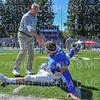 Hamilton College head coach Dave Murray, Hamilton College linebacker Carmine Bruno (4)<br /> <br /> 9/21/19 12:18:55 PM Football:  Wesleyan University v Hamilton College at Steuben Field, Hamilton College, Clinton, NY<br /> <br /> Final:  Wesleyan 28   Hamilton 10<br /> <br /> Photo by Josh McKee