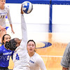 Hamilton College middle blocker Kendall Boxe (4)<br /> <br /> 9/27/19 8:28:50 PM Women's Volleyball:  Williams College vs Hamilton College, at Margaret Bundy Scott Field House, Hamilton College, Clinton, NY<br /> <br /> Final: Willliams 3  Hamilton 0<br /> <br /> Photo by Josh McKee