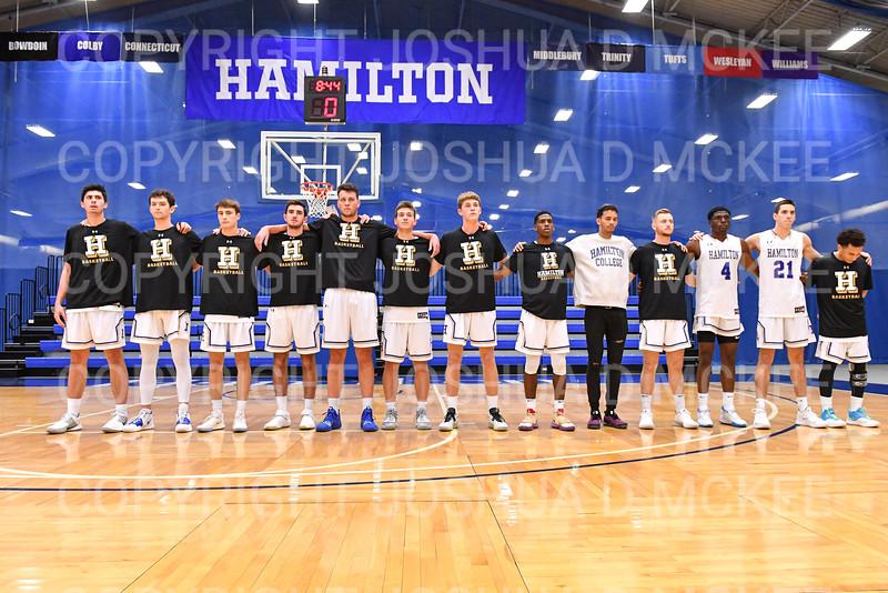 Team<br /> <br /> 11/20/19 8:29:18 PM Men's Basketball:  Bard College v Hamilton College at Margaret Bundy Scott Field House, Hamilton College, Clinton, NY<br /> <br /> Final:  Bard 57   Hamilton 101<br /> <br /> Photo by Josh McKee