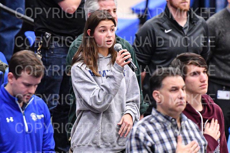 Anthem<br /> <br /> 1/10/20 7:59:44 PM Men's Basketball:  Williams College v Hamilton College at Margaret Bundy Scott Field House, Hamilton College, Clinton, NY<br /> <br /> Final:  Williams 78   Hamilton 79<br /> <br /> Photo by Josh McKee