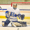 Hamilton College goaltender Pete Negron (1)<br /> <br /> 11/22/19 7:30:13 PM Men's Hockey:  Wesleyan University v Hamilton College at Russell Sage Rink, Hamilton College, Clinton, NY<br /> <br /> Final:  Wesleyan 4   Hamilton 5<br /> <br /> Photo by Josh McKee